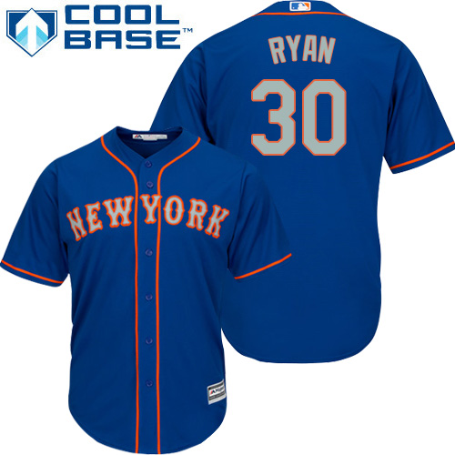 Mets #30 Nolan Ryan Blue(Grey NO.) Cool Base Stitched Youth MLB Jersey