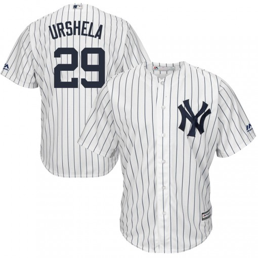Yankees #29 Gio Urshela White Strip New Cool Base Stitched Youth MLB Jersey