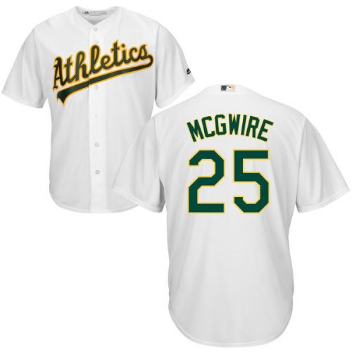Athletics #25 Mark McGwire White Cool Base Stitched Youth MLB Jersey
