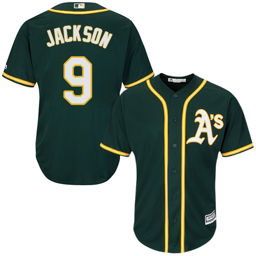 Athletics #9 Reggie Jackson Green Cool Base Stitched Youth MLB Jersey