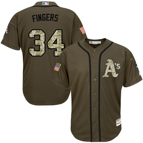 Athletics #34 Rollie Fingers Green Salute to Service Stitched Youth MLB Jersey