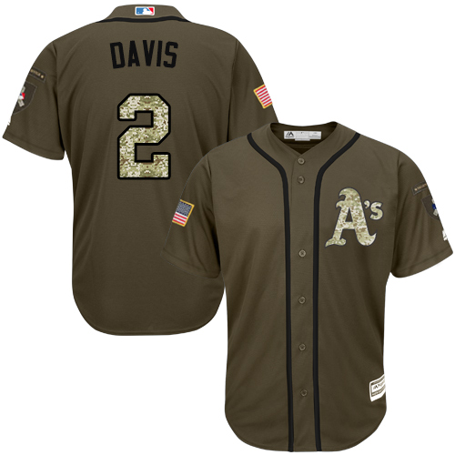 Athletics #2 Khris Davis Green Salute to Service Stitched Youth MLB Jersey