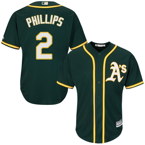 Athletics #2 Tony Phillips Green Cool Base Stitched Youth MLB Jersey