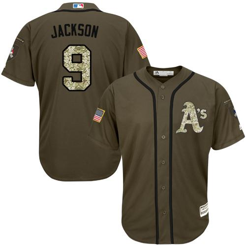 Athletics #9 Reggie Jackson Green Salute to Service Stitched Youth MLB Jersey