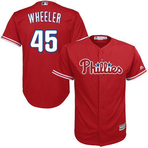 Phillies #45 Zack Wheeler Red Cool Base Stitched Youth MLB Jersey