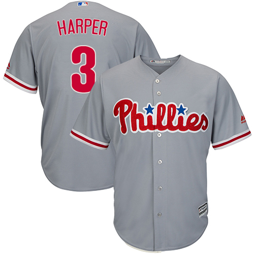 Phillies #3 Bryce Harper Grey Cool Base Stitched Youth MLB Jersey