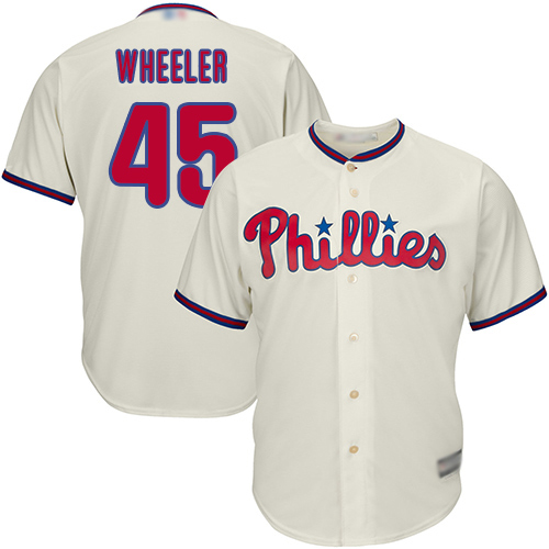 Phillies #45 Zack Wheeler Cream Cool Base Stitched Youth MLB Jersey