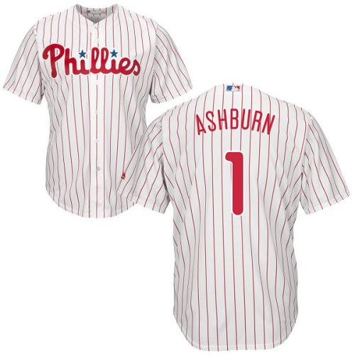 Phillies #1 Richie Ashburn White(Red Strip) Cool Base Stitched Youth MLB Jersey