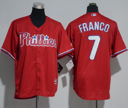 Phillies #7 Maikel Franco Red Cool Base Stitched Youth MLB Jersey