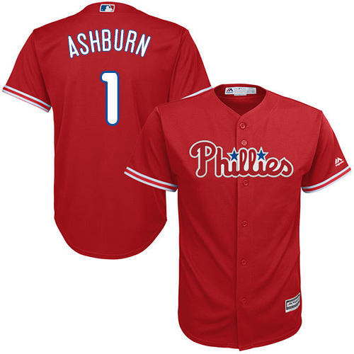 Phillies #1 Richie Ashburn Red Cool Base Stitched Youth MLB Jersey