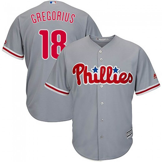 Phillies #18 Didi Gregorius Grey Cool Base Stitched Youth MLB Jersey