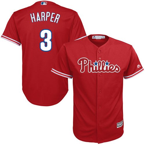 Phillies #3 Bryce Harper Red Cool Base Stitched Youth MLB Jersey