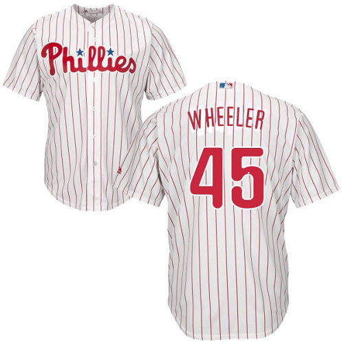 Phillies #45 Zack Wheeler White(Red Strip) Cool Base Stitched Youth MLB Jersey