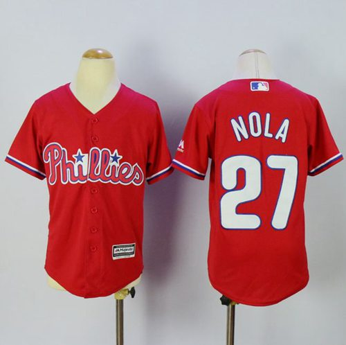 Phillies #27 Aaron Nola Red Alternate Cool Base Stitched Youth MLB Jersey