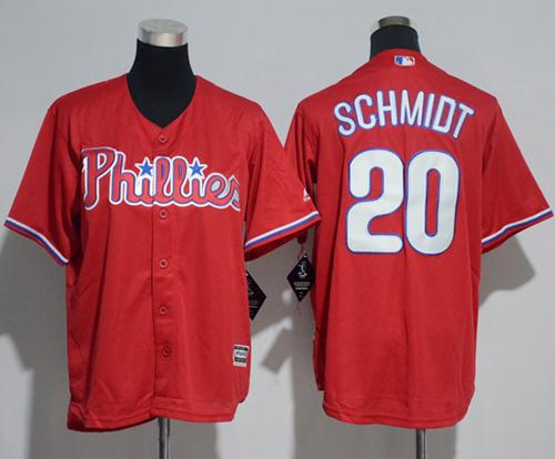 Phillies #20 Mike Schmidt Red Cool Base Stitched Youth MLB Jersey