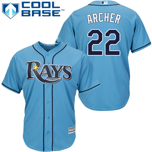 Rays #22 Chris Archer Light Blue Cool Base Stitched Youth MLB Jersey