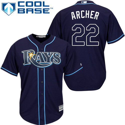 Rays #22 Chris Archer Dark Blue Cool Base Stitched Youth MLB Jersey