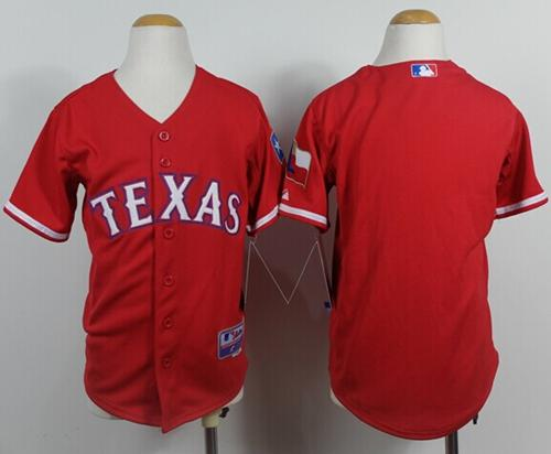 Rangers Blank Red Cool Base Stitched Youth MLB Jersey