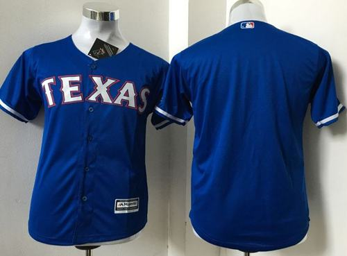 Rangers Blank Blue Cool Base Stitched Youth MLB Jersey