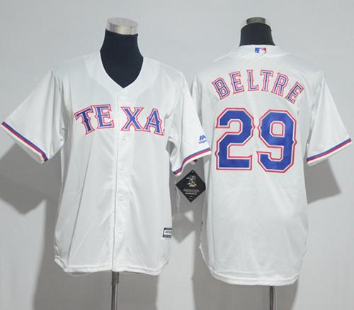 Rangers #29 Adrian Beltre White Cool Base Stitched Youth MLB Jersey