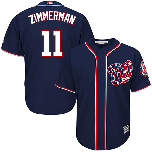 Nationals #11 Ryan Zimmerman Navy Blue Cool Base Stitched Youth MLB Jersey