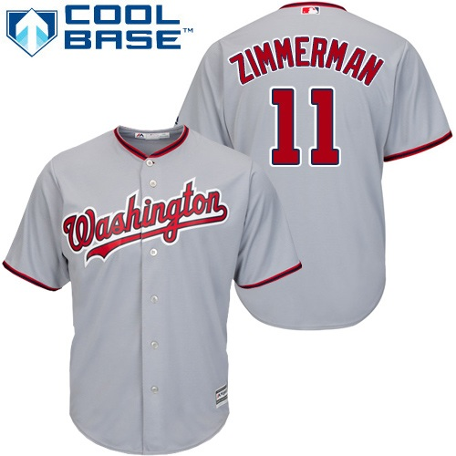 Nationals #11 Ryan Zimmerman Grey Cool Base Stitched Youth MLB Jersey