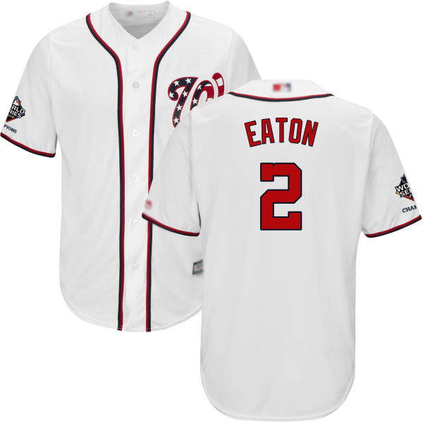 Nationals #2 Adam Eaton White Cool Base 2019 World Series Champions Stitched Youth MLB Jersey