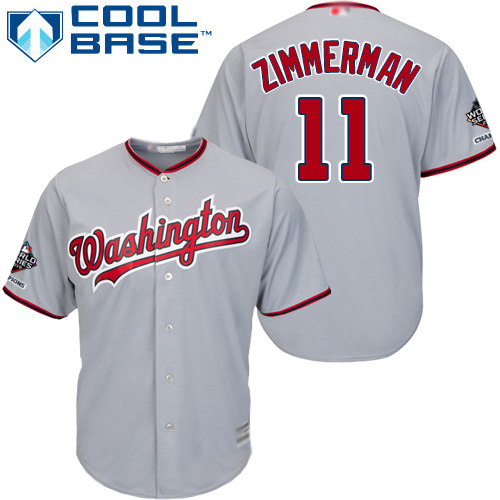 Nationals #11 Ryan Zimmerman Grey Cool Base 2019 World Series Champions Stitched Youth MLB Jersey