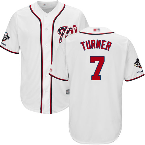 Nationals #7 Trea Turner White Cool Base 2019 World Series Champions Stitched Youth MLB Jersey