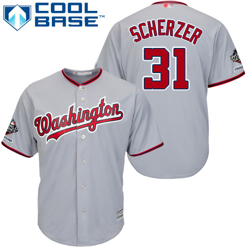 Nationals #31 Max Scherzer Grey Cool Base 2019 World Series Champions Stitched Youth MLB Jersey