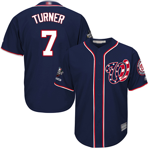 Nationals #7 Trea Turner Navy Blue Cool Base 2019 World Series Champions Stitched Youth MLB Jersey