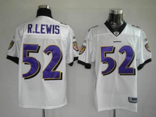 Ravens #52 R.Lewis White Stitched Youth NFL Jersey