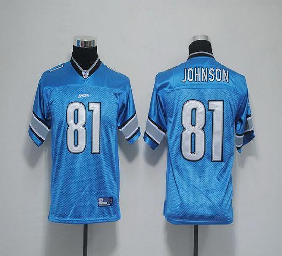 Lions #81 Calvin Johnson Blue EStitched Youth NFL Jersey
