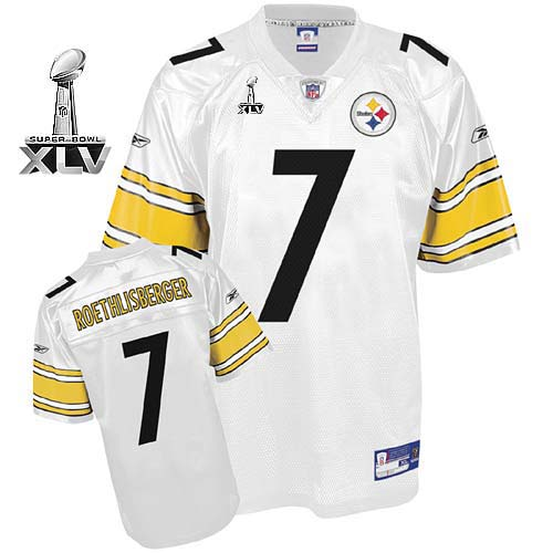 Steelers #7 Ben Roethlisberger White Super Bowl XLV Stitched Youth NFL Jersey