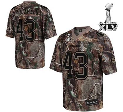 Steelers #43 Troy Polamalu Camouflage Realtree Super Bowl XLV Embroidered Youth NFL Jersey