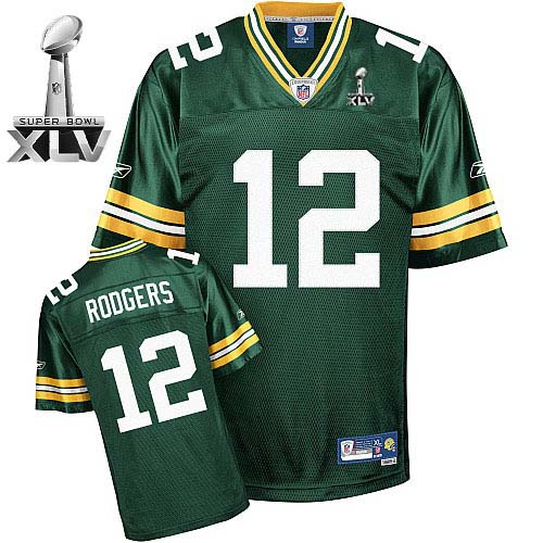 Packers #12 Aaron Rodgers Green Super Bowl XLV Stitched Youth NFL Jersey