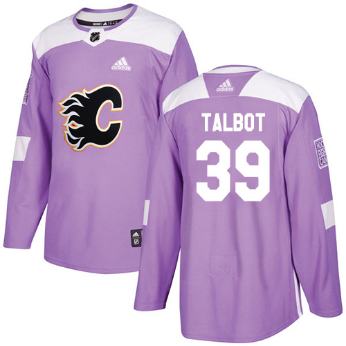 Adidas Flames #39 Cam Talbot Purple Authentic Fights Cancer Stitched Youth NHL Jersey