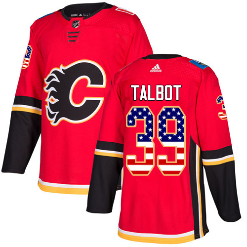 Adidas Flames #39 Cam Talbot Red Home Authentic USA Flag Stitched Youth NHL Jersey