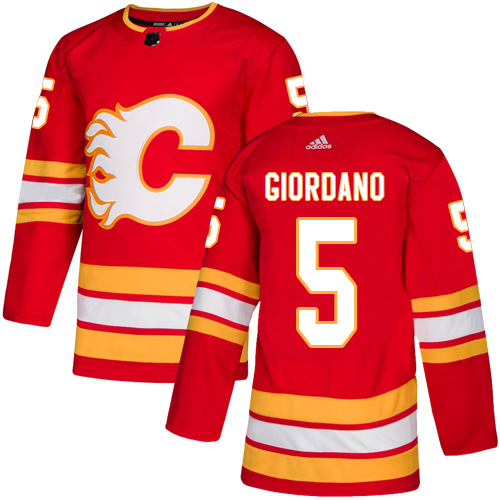 Adidas Flames #5 Mark Giordano Red Alternate Authentic Stitched Youth NHL Jersey