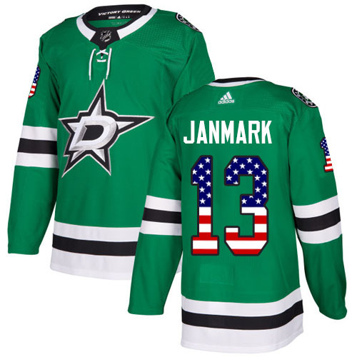 Adidas Stars #13 Mattias Janmark Green Home Authentic USA Flag Youth Stitched NHL Jersey
