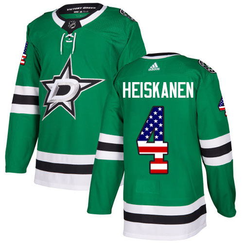 Adidas Stars #4 Miro Heiskanen Green Home Authentic USA Flag Youth Stitched NHL Jersey