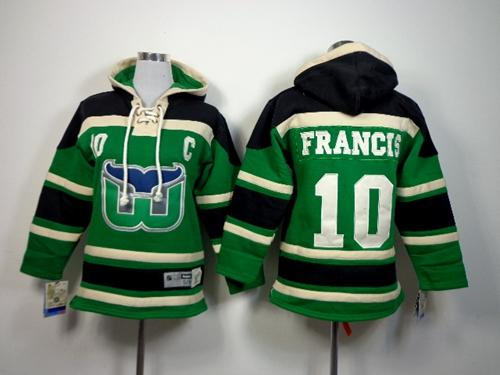 Whalers #10 Ron Francis Green Sawyer Hooded Sweatshirt Stitched Youth NHL Jersey