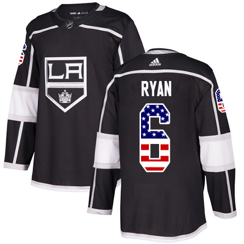 Adidas Kings #6 Joakim Ryan Black Home Authentic USA Flag Stitched Youth NHL Jersey