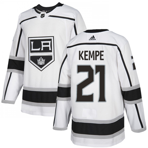 Adidas Kings #21 Mario Kempe White Road Authentic Stitched Youth NHL Jersey
