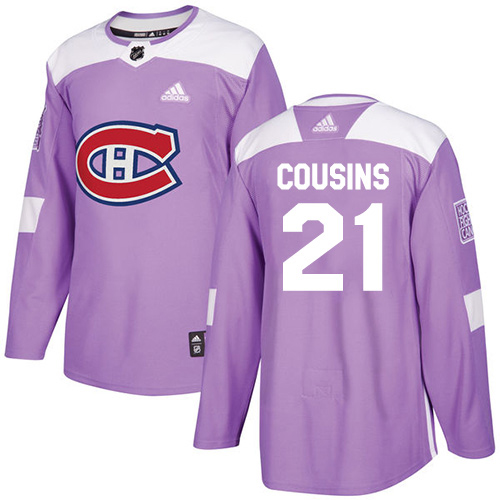 Adidas Canadiens #21 Nick Cousins Purple Authentic Fights Cancer Stitched Youth NHL Jersey
