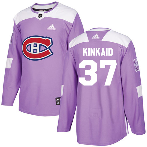 Adidas Canadiens #37 Keith Kinkaid Purple Authentic Fights Cancer Stitched Youth NHL Jersey