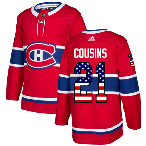 Adidas Canadiens #21 Nick Cousins Red Home Authentic USA Flag Stitched Youth NHL Jersey