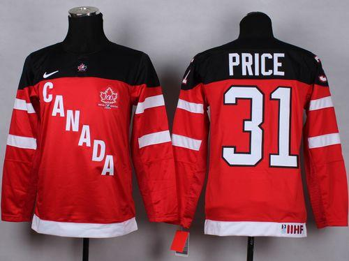 Team Canada #31 Carey Price Red 100th Anniversary Stitched Youth NHL Jersey