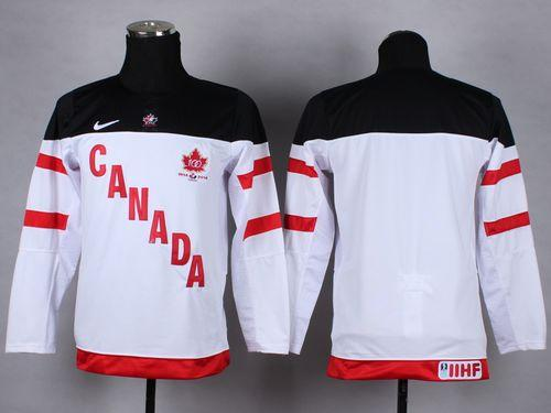 Team Canada Blank White 100th Anniversary Stitched Youth NHL Jersey