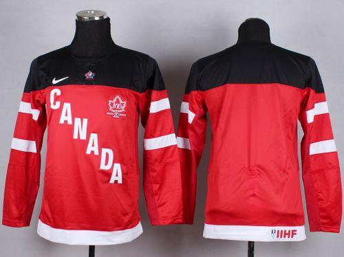 Team Canada Blank Red 100th Anniversary Stitched Youth NHL Jersey